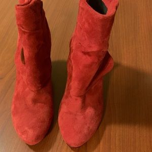 Nordstrom's Red Suede Ankle Boots (New)